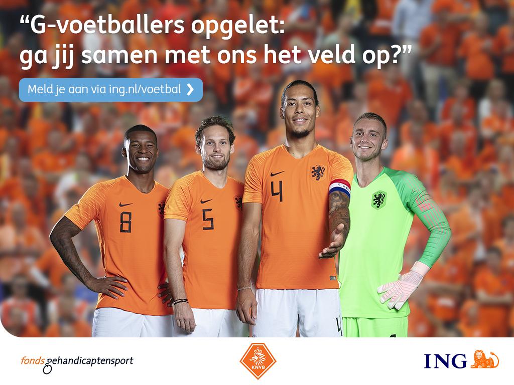 G-voetballers opgelet: ga samen met het Nederlands elftal het veld op